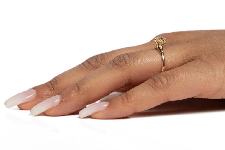GIA Certified .85 Carat Edwardian Diamond 14 Karat Yellow Gold Engagement Ring For Sale 3