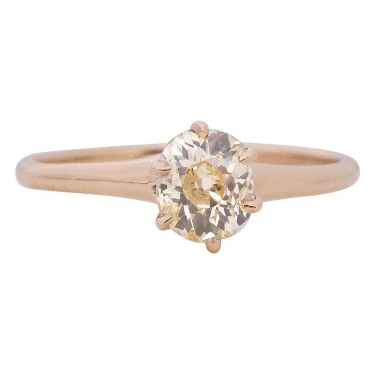 GIA Certified .85 Carat Edwardian Diamond 14 Karat Yellow Gold Engagement Ring For Sale