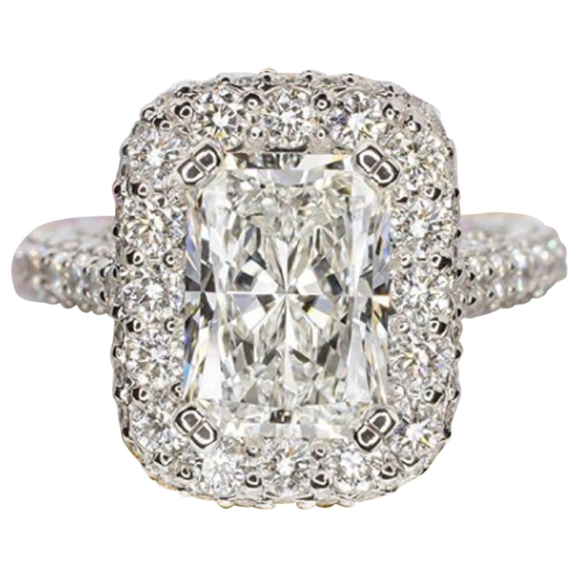GIA Certified 6.50 Carat Radiant Cut Diamond Halo Ring