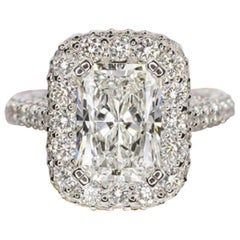 FLAWLESS Gia Certified 5.50 Carat Radiant Cut Diamond Halo Ring