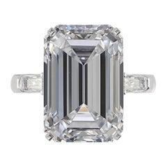 GIA Certified 8.50 Carat Emerald Cut Diamond Ring E Color VS2 Clarity Plat