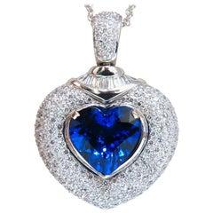 GIA Certified 8.50 Carat Natural Heart Tanzanite Diamond Necklace 14 Karat Prime