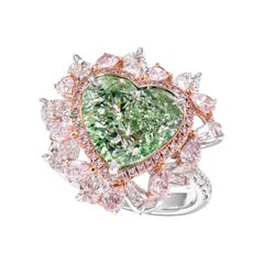 GIA Certified 8.51 Carat Fancy Yellow Green and Pink Diamond Ring