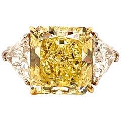 GIA Certified 8.56 Fancy Yellow Radiant Cut Diamond Ring