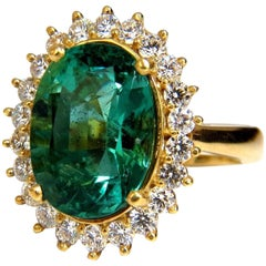 """GIA Certified 8.60ct natural green emerald diamonds ring 18kt """"F1"""" Halo Prime"""