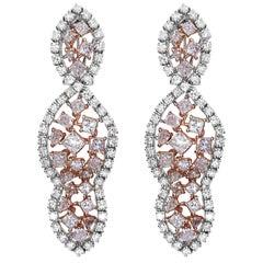 GIA Certified 8.63 Carat Natural Pink Diamond Earrings