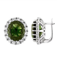 GIA Certified 8.63 Carat Oval Moldavite Diamond Gold Earrings