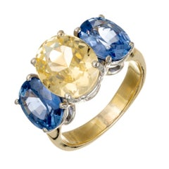 GIA Certified 8.63 Carat Yellow Blue Sapphire Gold Three-Stone Engagement Ring