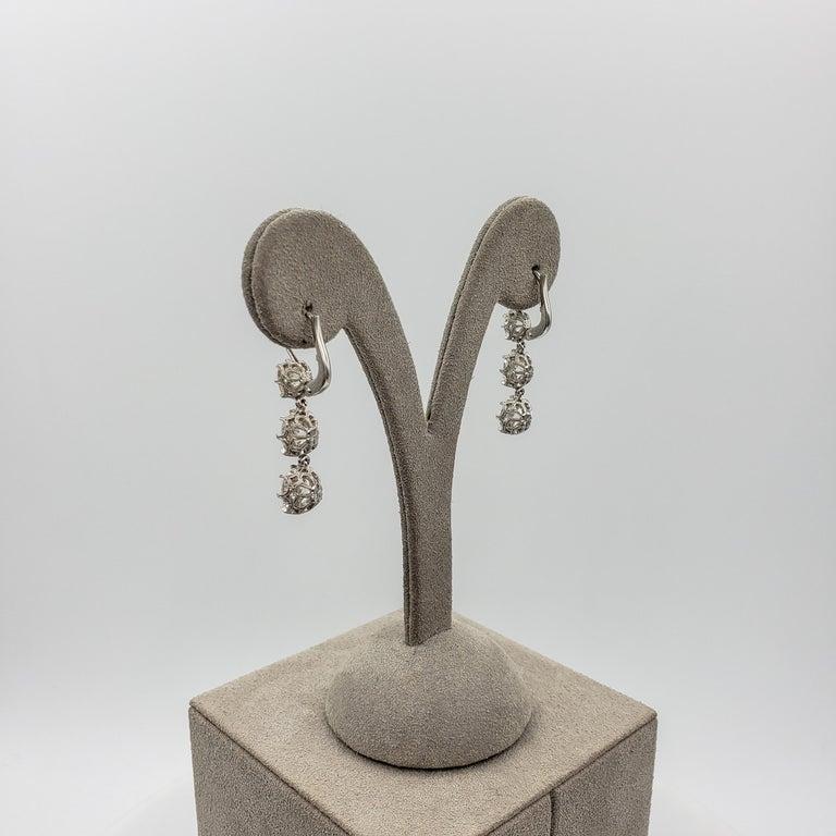GIA Certified 8.64 Carat Old Mine Cut Diamond Dangle Drop Earrings For Sale 5