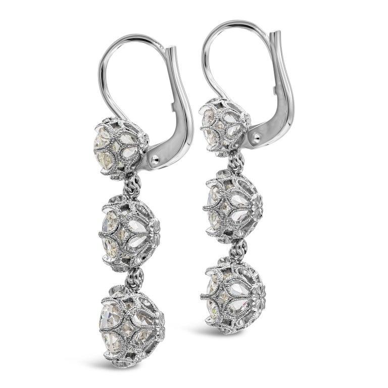 Art Deco GIA Certified 8.64 Carat Old Mine Cut Diamond Dangle Drop Earrings For Sale