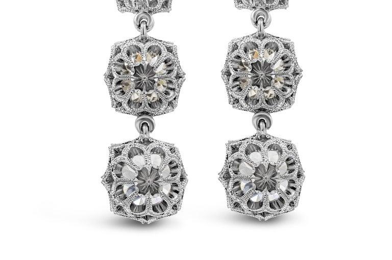 GIA Certified 8.64 Carat Old Mine Cut Diamond Dangle Drop Earrings For Sale 1