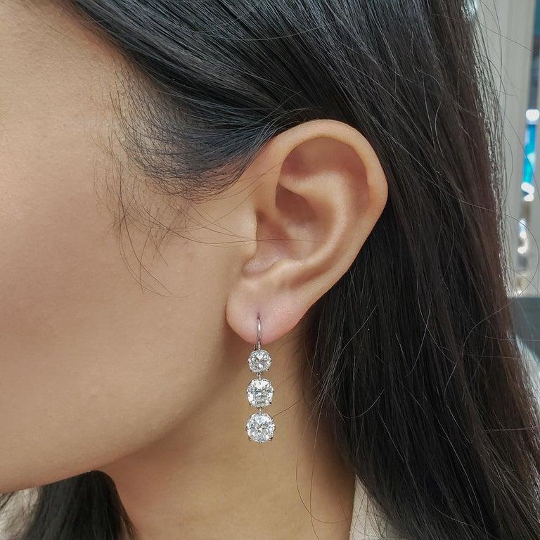 GIA Certified 8.64 Carat Old Mine Cut Diamond Dangle Drop Earrings For Sale 2
