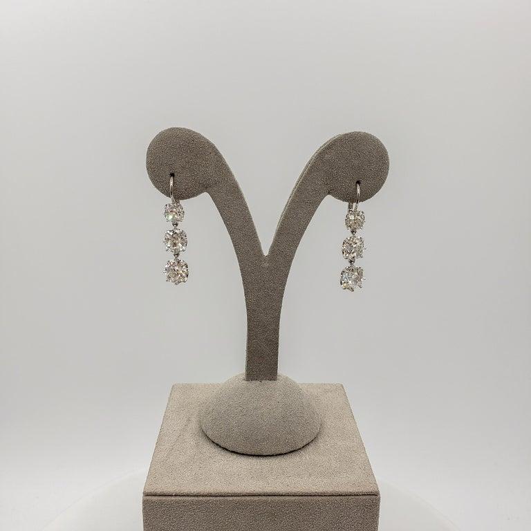 GIA Certified 8.64 Carat Old Mine Cut Diamond Dangle Drop Earrings For Sale 3