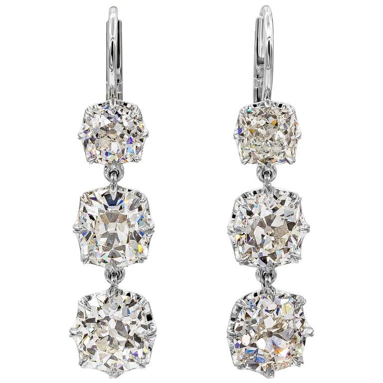 GIA Certified 8.64 Carat Old Mine Cut Diamond Dangle Drop Earrings For Sale