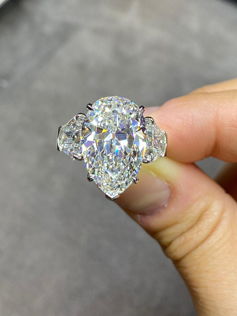 Pear Cut GIA Certified 8.73 Carat Pear Shape Diamond Three-Stone Ring For Sale