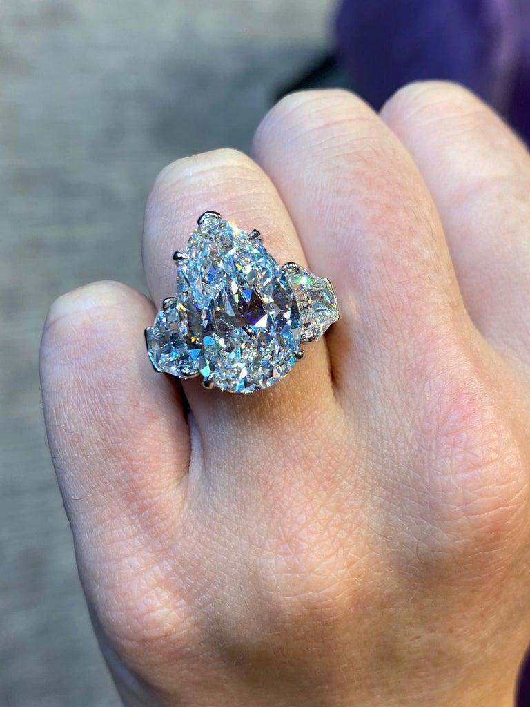 Women's GIA Certified 8.73 Carat Pear Shape Diamond Three-Stone Ring For Sale