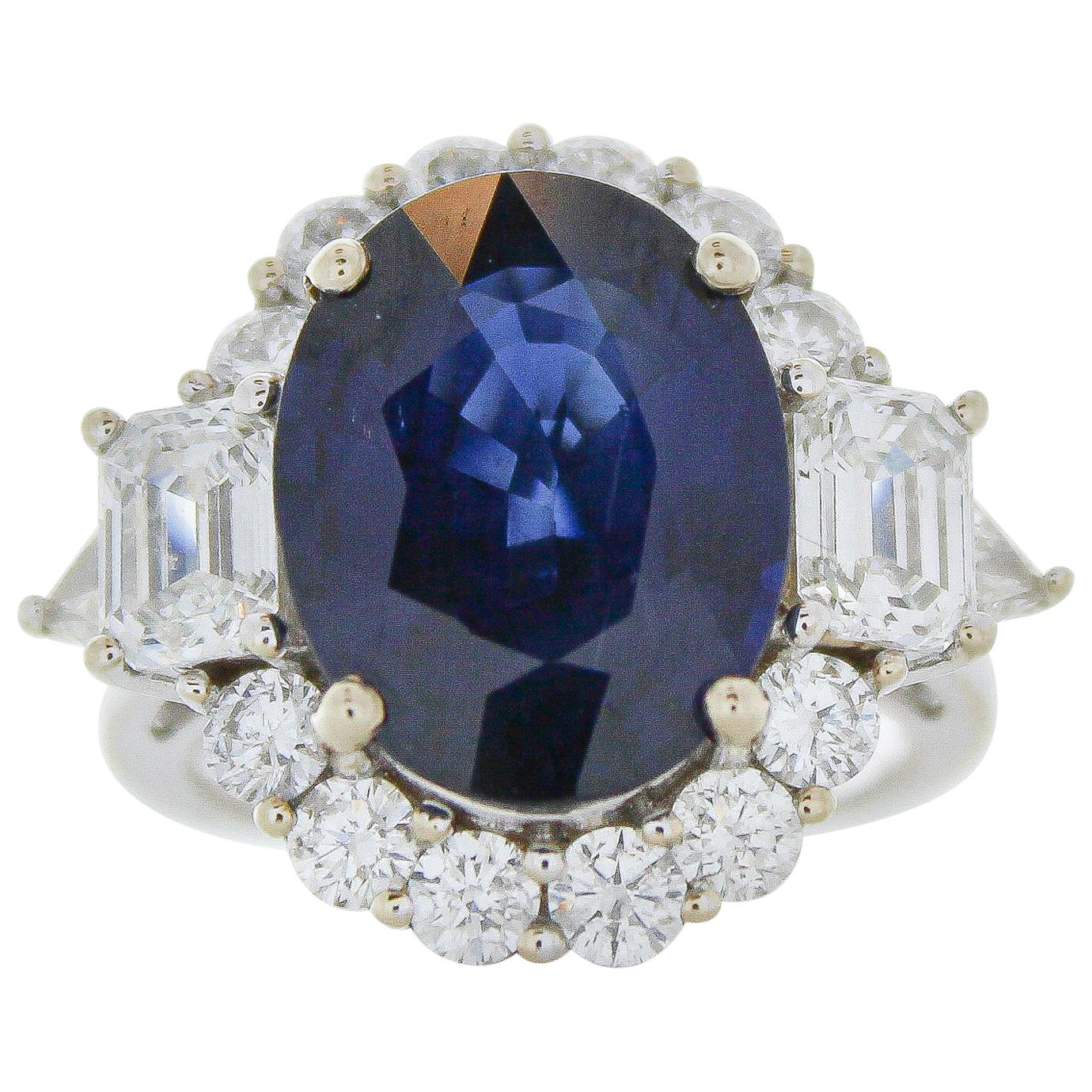 GIA Certified 8.74 Carat Oval Sapphire and Diamond Ring in 18 Karat White Gold