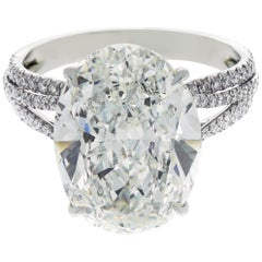 GIA Certified 8.76 Carat Oval Kwiat Diamond Platinum Engagement Ring