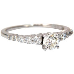 GIA Certified .88 Carat Round Cut Diamond Cathedral Ring 14 Karat Classic VVS