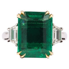 GIA Certified 8.81 Carat Emerald and Diamond Ring