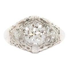 GIA Certified .89 Carat Diamond Platinum Engagement Ring