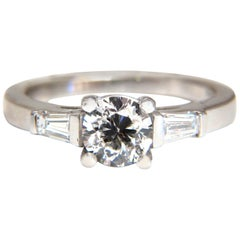 GIA Certified .90 Carat and .36 Carat Round Diamond Engagement Ring Platinum