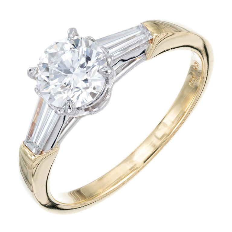 GIA Certified .90 Carat Diamond Baguette Three-Stone Gold Platinum Ring For Sale