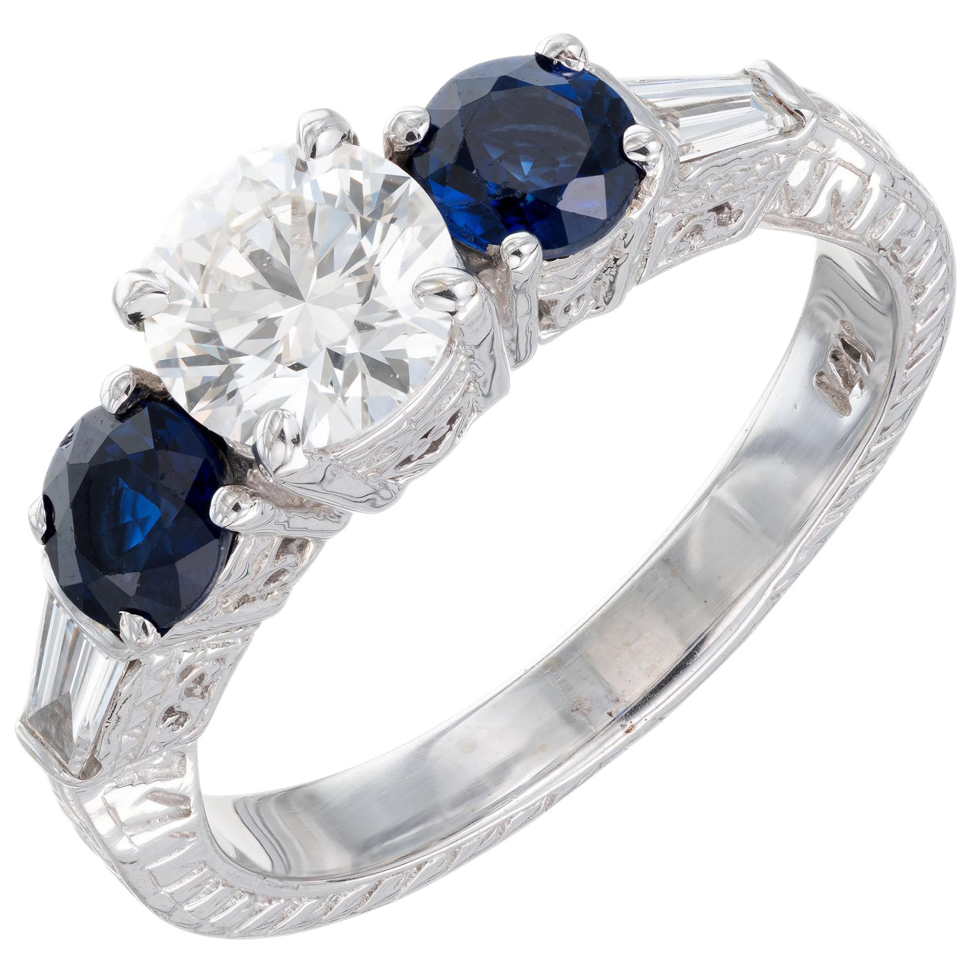 GIA Certified .90 Carat Diamond Sapphire Gold Engagement Ring