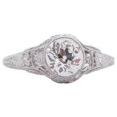 GIA Certified .90 Carat Edwardian Diamond Platinum Engagement Ring