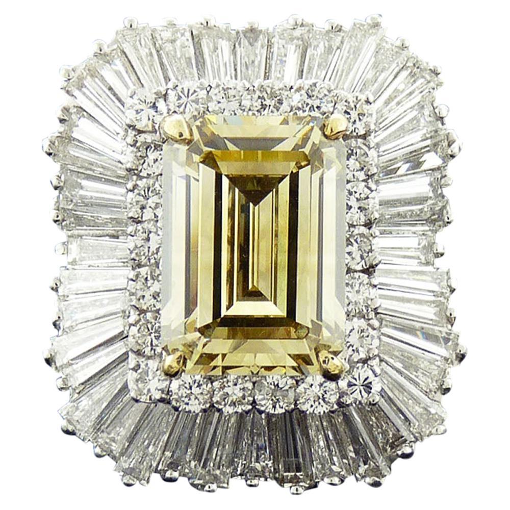 GIA Certified 9.01 Carat Fancy Brownish Yellow Diamond Cocktail Ring