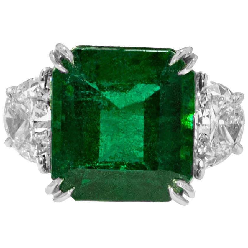 GIA Certified Green Emerald Diamond Ring