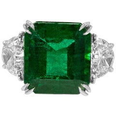 GIA Certified Green Emerald Diamond Ring