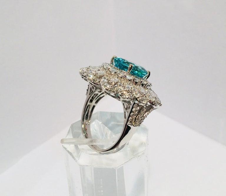 GIA Certified 9.02 Carat Paraiba Tourmaline and Diamond 18 Karat White Gold Ring For Sale 4
