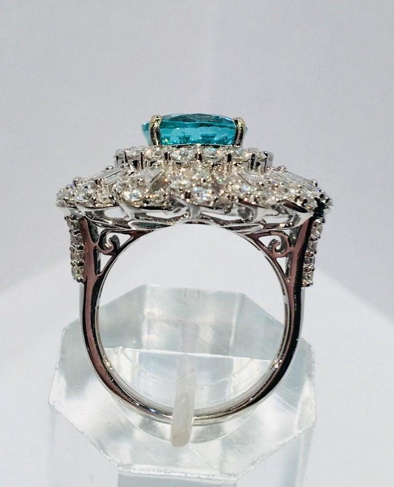 GIA Certified 9.02 Carat Paraiba Tourmaline and Diamond 18 Karat White Gold Ring For Sale 5