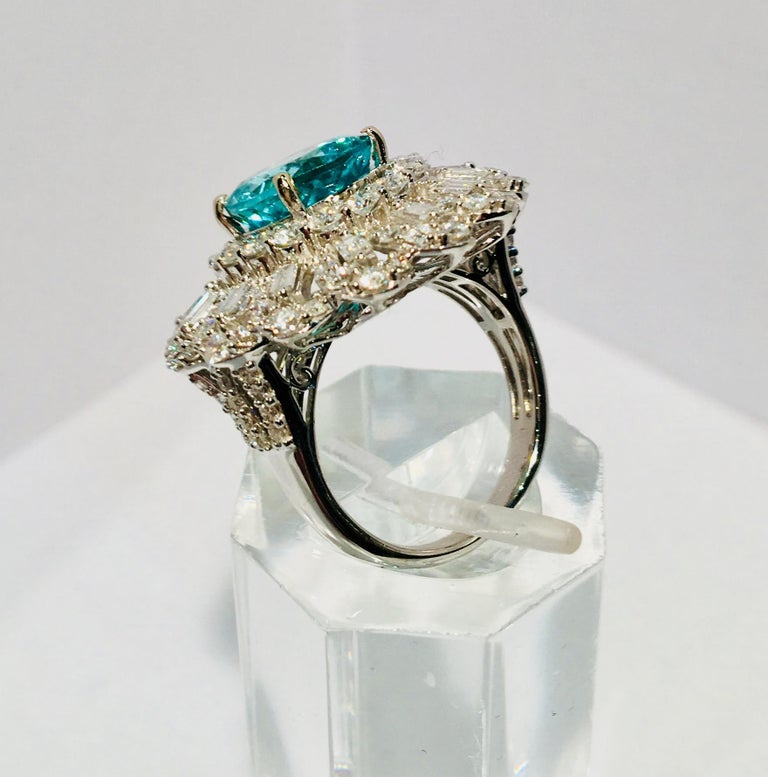 GIA Certified 9.02 Carat Paraiba Tourmaline and Diamond 18 Karat White Gold Ring For Sale 6