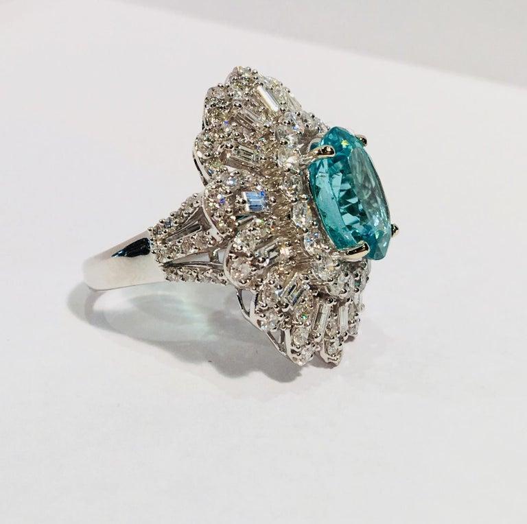 GIA Certified 9.02 Carat Paraiba Tourmaline and Diamond 18 Karat White Gold Ring For Sale 8
