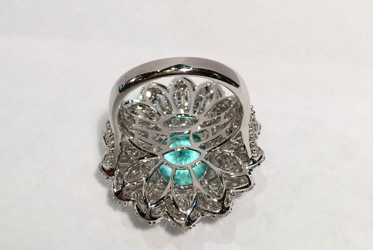 GIA Certified 9.02 Carat Paraiba Tourmaline and Diamond 18 Karat White Gold Ring For Sale 9