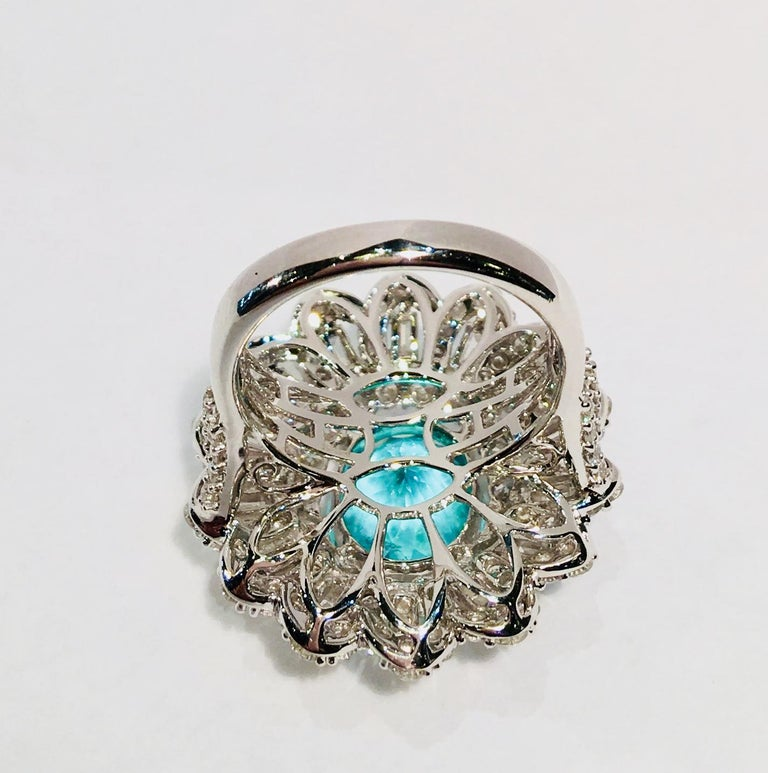 GIA Certified 9.02 Carat Paraiba Tourmaline and Diamond 18 Karat White Gold Ring For Sale 10