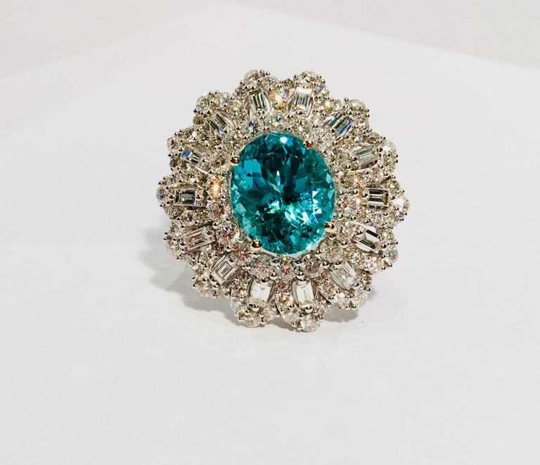 Captivating, transparent greenish blue modified brilliant oval cut Paraiba tourmaline has been certified by GIA, report number 1192430663. The stone measures 11.89 mm x 10.30 mm, with an estimated depth of 6.67 mm. Paraiba weighs 5.02 carats. The