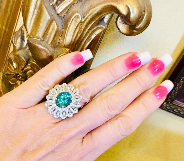 Contemporary GIA Certified 9.02 Carat Paraiba Tourmaline and Diamond 18 Karat White Gold Ring For Sale