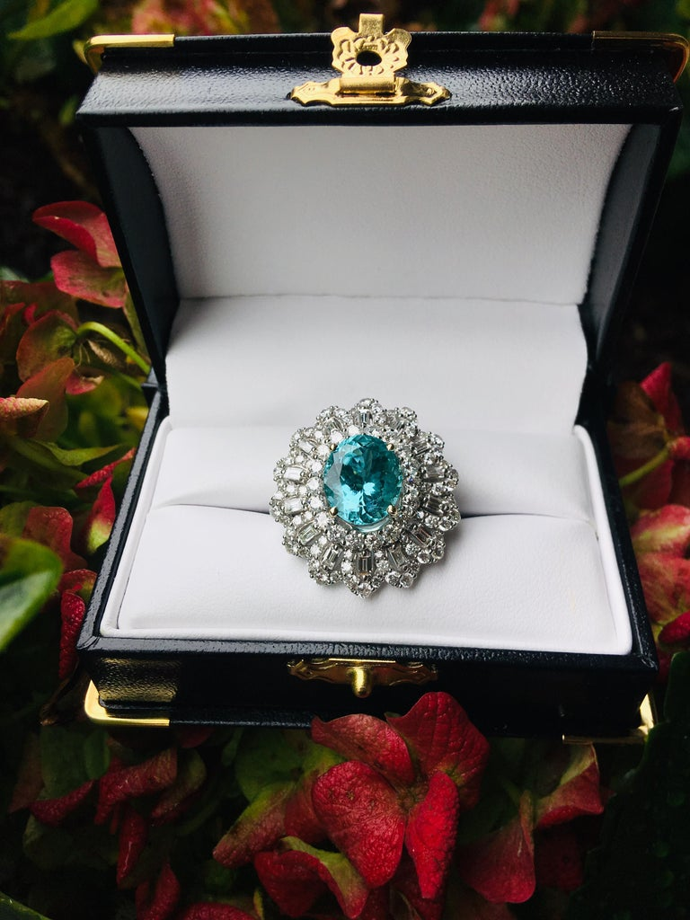 GIA Certified 9.02 Carat Paraiba Tourmaline and Diamond 18 Karat White Gold Ring In Excellent Condition For Sale In Tustin, CA