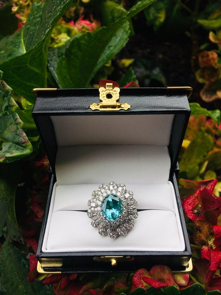 GIA Certified 9.02 Carat Paraiba Tourmaline and Diamond 18 Karat White Gold Ring For Sale 3