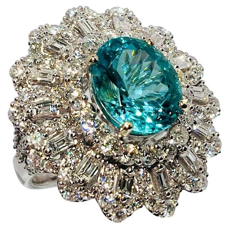 GIA Certified 9.02 Carat Paraiba Tourmaline and Diamond 18 Karat White Gold Ring For Sale