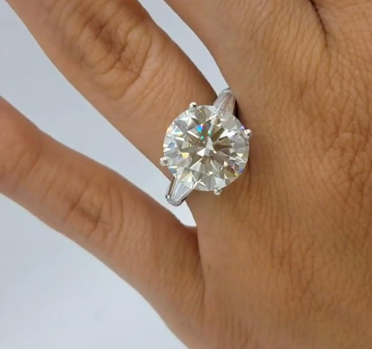 Round Cut GIA Certified 9.05 Carat F SI1 Engagement Ring For Sale
