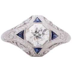GIA Certified .91 Carat Art Deco Diamond Platinum Engagement Ring