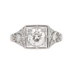 GIA Certified .91 Carat Diamond Platinum Engagement Ring