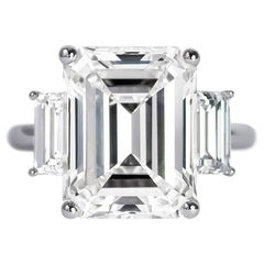 GIA Certified 9.10 Carat Emerald Cut Diamond Three-Stone Ring