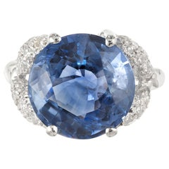 GIA Certified 9.13 Carat Ceylon Sapphire Pave Diamond Platinum Engagement Ring