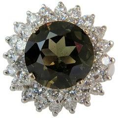 GIA Certified 9.19 Carat Green Kornerupine Diamond Ring