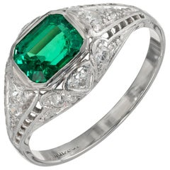 GIA Certified .92 Carat Emerald Diamond Platinum Art Deco Engagement Ring